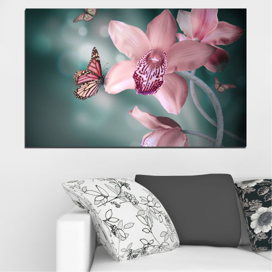 Декоративни панели и картини от канава - от 1 част №0310 » Черен, Сив, Млечно розов, Тъмно сив » Цветя, Орхидея, Пеперуда Form #1