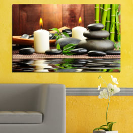 Feng shui, Water, Zen, Bamboo, Stones, Candle, Manga » Brown, Black, Gray, Dark grey