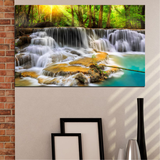 Canvas prints & wall decorative panels - 1 piece №0312 » Brown, Black, Gray, Dark grey » Nature, Landscape, Water, Waterfall, Freshness, Forest, Sun, Rocks Form #1