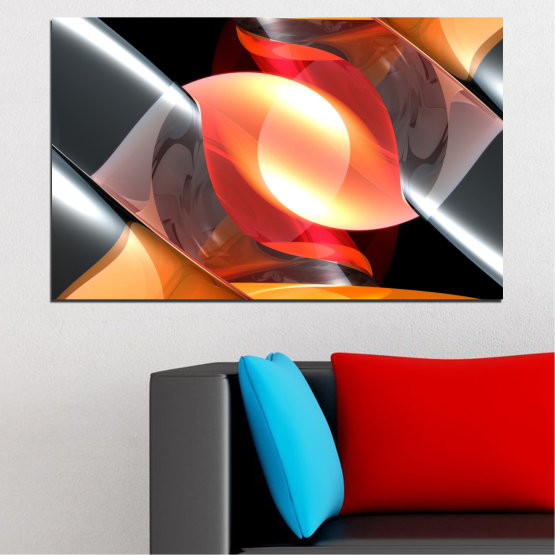 Canvas prints & wall decorative panels - 1 piece №0314 » Red, Yellow, Black, Gray, Dark grey » Abstraction, Shine, Colorful Form #1