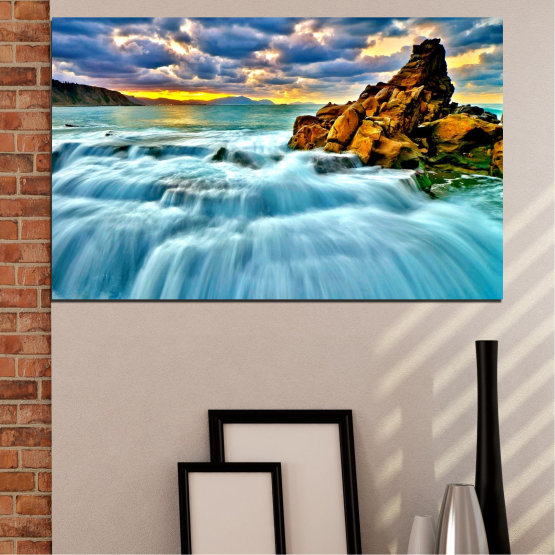 Canvas prints & wall decorative panels - 1 piece №0315 » Blue, Turquoise, Black, Gray » Nature, Landscape, Waterfall, Sunset, Sky, Rocks, Cloud Form #1