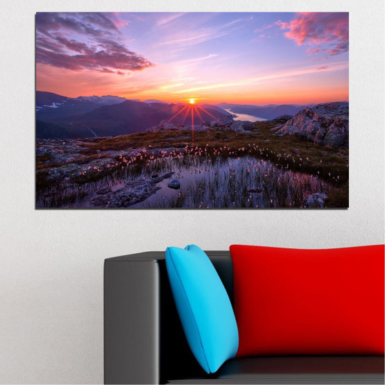 Canvas prints & wall decorative panels - 1 piece №0316 » Purple, Black, Gray, Dark grey » Landscape, Nature, Sun, Sunrise, Freshness, Mountain, Meadow Form #1