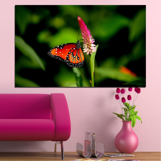 Canvas prints & wall decorative panels - 1 piece №0317 » Red, Green, Black » Nature, Flowers, Butterfly Form #1