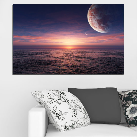 Canvas prints & wall decorative panels - 1 piece №0318 » Purple, Brown, Black, Gray, Dark grey » Landscape, Sea, Water, Sunset, Collage, Sky, Moon, Planet Form #1