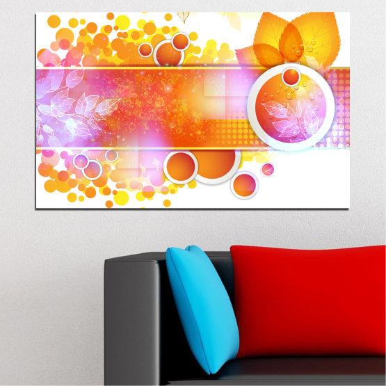Εκτύπωση σε καμβά και διακοσμητικά πάνελ τοίχου - 1 τεμάχιο №0319 » Κίτρινος, Πορτοκάλι, Άσπρο, Μπεζ, Γαλακτώδες ροζ » Αφαίρεση, Φύλλο, Σφαίρα Form #1