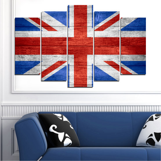 Canvas prints & wall decorative panels - 5 pieces №0099 » Red, Blue, White » Symbol, Great britain, Flag Form #1