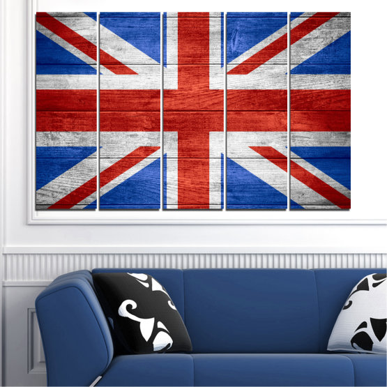 Canvas prints & wall decorative panels - 5 pieces №0099 » Red, Blue, White » Symbol, Great britain, Flag Form #2
