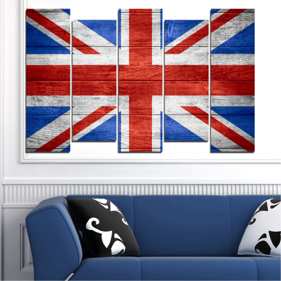 Canvas prints & wall decorative panels - 5 pieces №0099 » Red, Blue, White » Symbol, Great britain, Flag Form #3