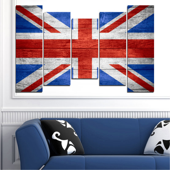 Canvas prints & wall decorative panels - 5 pieces №0099 » Red, Blue, White » Symbol, Great britain, Flag Form #4