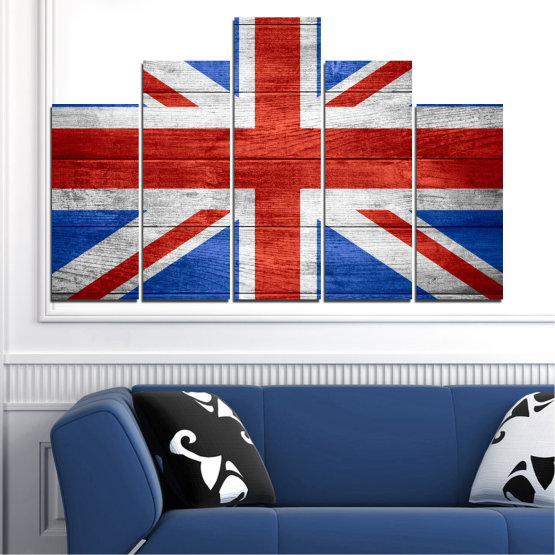 Canvas prints & wall decorative panels - 5 pieces №0099 » Red, Blue, White » Symbol, Great britain, Flag Form #5