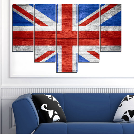 Canvas prints & wall decorative panels - 5 pieces №0099 » Red, Blue, White » Symbol, Great britain, Flag Form #6