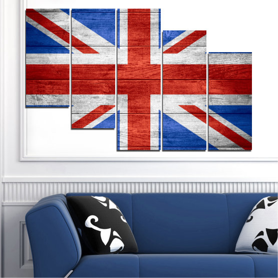 Canvas prints & wall decorative panels - 5 pieces №0099 » Red, Blue, White » Symbol, Great britain, Flag Form #7