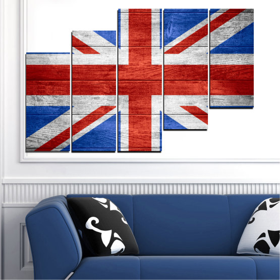Canvas prints & wall decorative panels - 5 pieces №0099 » Red, Blue, White » Symbol, Great britain, Flag Form #8