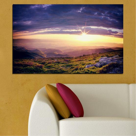 Canvas prints & wall decorative panels - 1 piece №0320 » Brown, Black, Gray, Beige, Dark grey » Nature, Landscape, Mountain, Sunrise Form #1