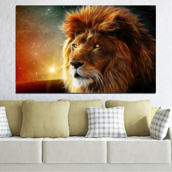 Canvas prints & wall decorative panels - 1 piece №0323 » Orange, Brown, Black, Dark grey » Animal, Drawing, Collage, Sun, Portrait, Lion Form #1