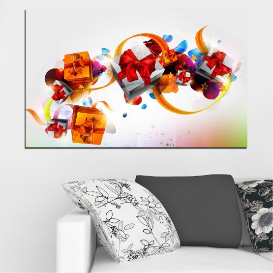 Canvas prints & wall decorative panels - 1 piece №0324 » Turquoise, Gray, White » Collage, Colorful, Gift, Christmas, Holiday Form #1
