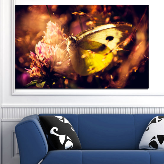 Canvas prints & wall decorative panels - 1 piece №0325 » Red, Orange, Brown, Black » Animal, Flowers, Butterfly Form #1