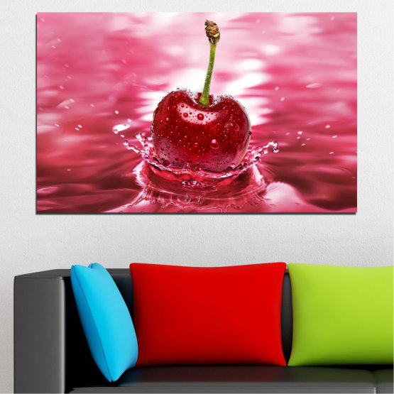 Canvas prints & wall decorative panels - 1 piece №0327 » Red, Pink, Brown, White, Milky pink » Water, Drops, Fruits, Cherries Form #1