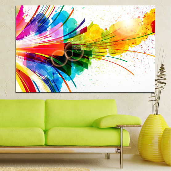 Canvas prints & wall decorative panels - 1 piece №0328 » Blue, Yellow, White, Beige » Abstraction, Colorful, Fireworks Form #1