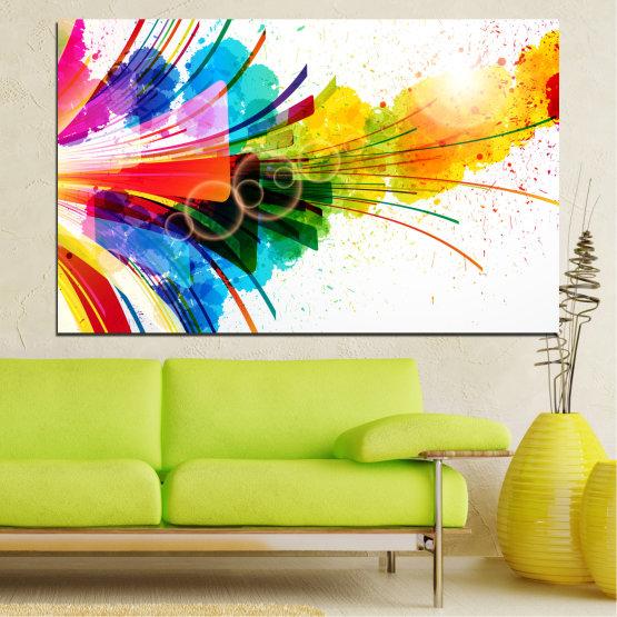 Декоративни панели и картини от канава - от 1 част №0328 » Син, Жълт, Бял, Бежов » Абстракция, Цветен, Фойерверки Form #1