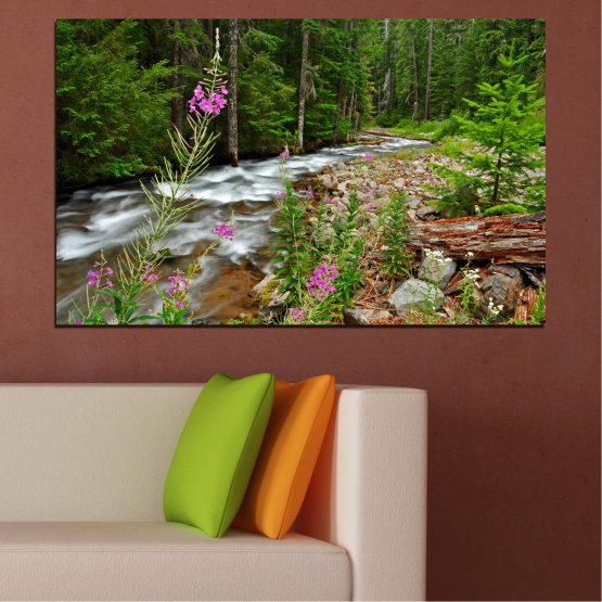 Canvas prints & wall decorative panels - 1 piece №0329 » Green, Brown, Black, Gray, Dark grey » Nature, Landscape, Water, Freshness, Forest, River Form #1
